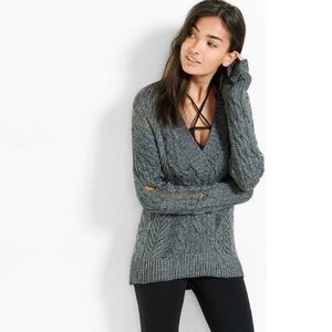 Express Gray Distressed V-Neck Cable Knit Sweater